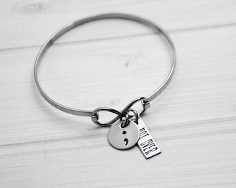 Not Over Semicolon Bangle Bracelet - Hand Stamped Bangle Bracelet - Fighter, Survivor - Not Alone - Encouragement Gift