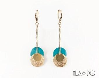 Nadi Earrings in turquoise || Enamel and brass sequin earrings