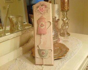 Cottage Chic Tea cup Teapot wall Hanger