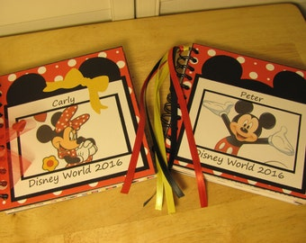 Disney Autograph Book  MINNIE or Mickey MOUSE or many Character Choices  Scrapbook Boy or Girl Keepsake in Colors of  Red, Yellow and Black