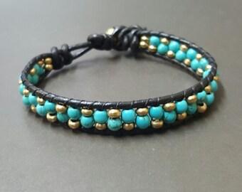 Turquoise Brass Black  Leather Bracelet