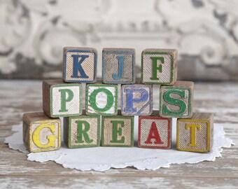 Vintage Alphabet Blocks, Vintage Wooden Blocks, toy blocks, building blocks, set of 12 vintage alphabet blocks