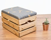 Upcycled Apple Crate Ottoman Foot stool  seat  storage box with hand screen charcoal  gold parquet leaf pattern fabric