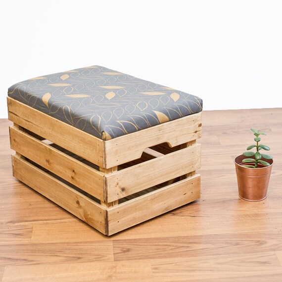 Upcycled apple crate ottoman foot stool seat storage box