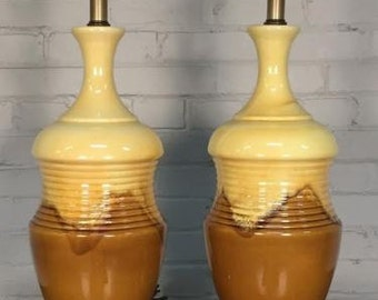 Pair Mid-Century Modern Ceramic Drip-Glaze Table Lamp ~ Mad Men / Eames Era Decor * SHIPPING NOT INCLUDED *