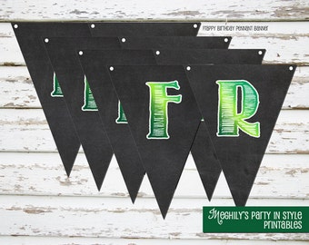INSTANT DOWNLOAD - Starbucks Inspired Frappy Birthday Pennant Banner
