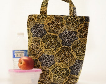 SALE  Lunch bag, Insulated Bag, Cold Bag, Insulated Lunch Bag, Insulated food bag, Black and Gold Cooler Bag