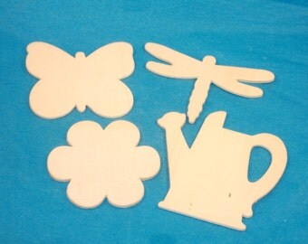 Garden Theme Wood Shapes - Watering Can, Flower, Butterfly, Dragonfly Wood Embellishments, DIY Wood Crafts - Total 5 Pieces - DESTASH