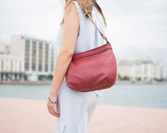 Small crossbody bag - Small leather bag - Leather hobo bag - HELEN bag