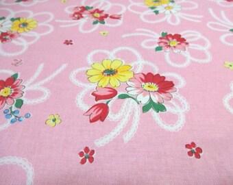 Japanese Fabric YUWA Race Ribbon Flower Pink Fat Quarter