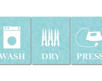 Wash Dry Press - Laundry Room Art - Set of Three Prints - Laundry Room Decor - Laundry Room Wall Art - Laundry Poster Set