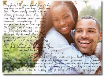 Wedding Photo PRINT - Any Song Lyrics Wedding Song First Dance Wedding Vows Poetry Personalized Wedding Anniversary Gift