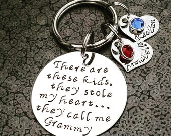 Personalized Keychain Hand Stamped Keychain There's These Kids They Call Me Grammy Grandparents Day Gift