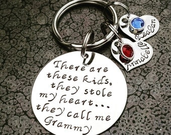 Mother's Day Gift For Grandma Personalized Keychain Hand Stamped Keychain There's These Kids They Call Me Grammy Grandparents Day Gift