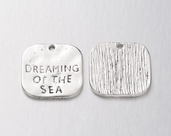 Quote Charms Pendants Dreaming of The Sea Antiqued Silver Ocean Charms Word Charms Wholesale Charms 50 pieces