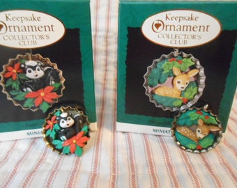 "Hallmark Keepsake Ornaments Miniature""Sweet Bouquet""&""""Cozy Christmas"""