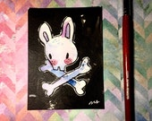 "Watercolor and ink Painting ""Bunny Skull"" 3x4 inches drawing / decoration."