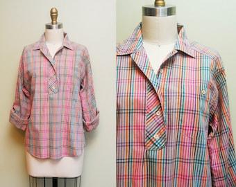 Vintage Plaid Cotton Popover Blouse / Oversized Button-up Long Sleeve Shirt / Large