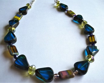 "18"" Necklace: Blue & Yellow Multicolor Czech Glass Beads,  Mustard Yellow Czech Glass, Yellow/Green Crystal Beads"