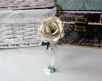 Ready to ship OOAK upcycled lightbulb vase with handmade paper flower