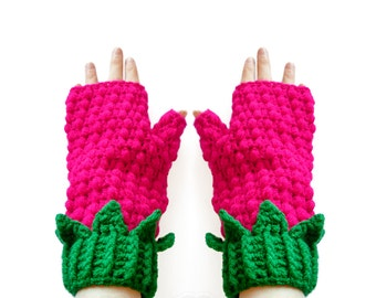 Raspberry Fingerless Gloves. Cute Cerise & Emerald Girls Texting Mittens. Hot Pink Green Crochet Vegan Hand Warmers. Kawaii Gift for Her