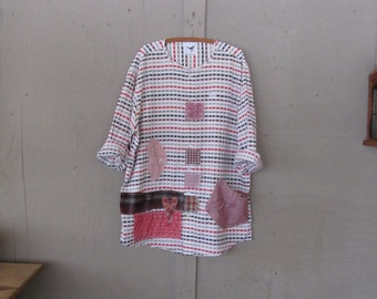 plus size women's upcycled Boyfriend shirt funky clothing patchwork prairie tunic one size Eco Boho top farm girl top by LillieNoraDryGoods
