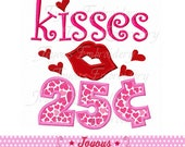 Instant Download Valentine's day Kisses 25 Cents Applique Embroidery Design NO:1919