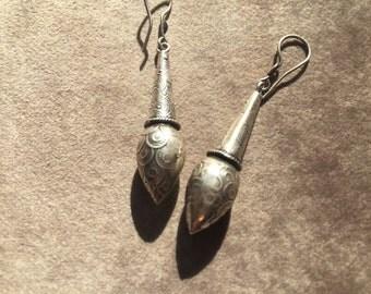 Indian silver drop earrings