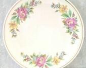 Kitchen Kraft Oven Serve Dish Spring Wreath Cake Plate Homer Laughlin Ivory Floral HLC
