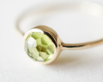 10K Solid Yellow Gold Peridot bezel setting ring- FREE Shipping- made to order- 3 weeks- modern minimalist jewelry