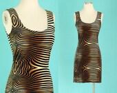 Vintage 90s Velvet Dress - Bodycon Dress - 90s Club Kid Mini Dress - Short Striped Dress - Sleeveless Tank Dress - Velour Dress - Size Small