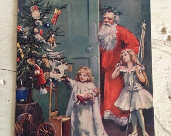 Antique Christmas Postcard Santa Claus and Christmas Tree Early 1900s Old Victorian Xmas Holiday Decor