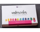 Watercolor Paints - Prima Marketing Confections - Tropicals - Half Pans - Tin Palette - Travel Case - Use brush or water pen - 12 colors