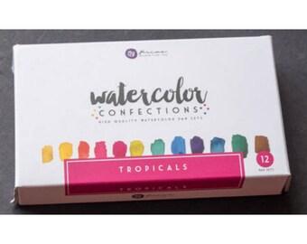 Watercolor Paints - Prima Marketing Confections - Tropicals - Half Pans - Tin Palette - Travel Case - Use brush or water pen - 12 colors