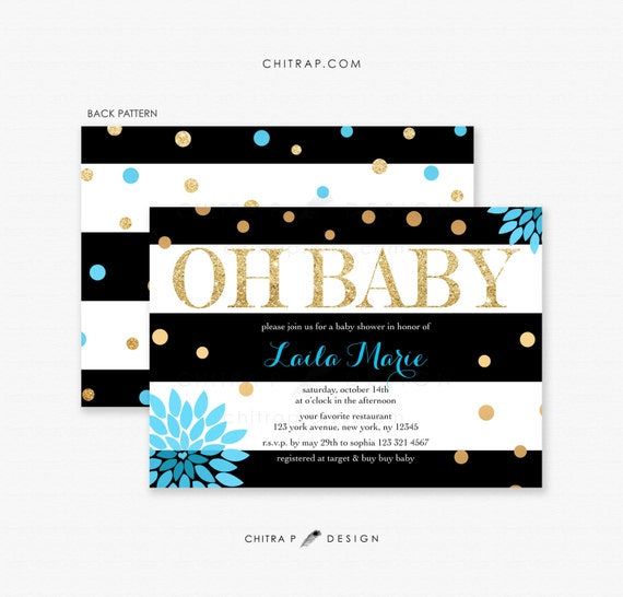 blue gold baby shower invitations printed black white, Baby shower invitations