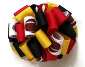 Red Black And Yellow Fancy Loops Hair Bow Toddler Girls Teen Bows Football Team School Colors