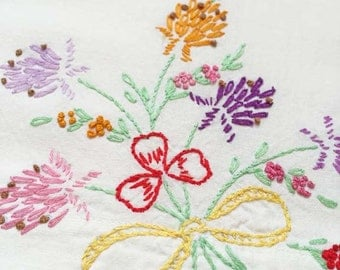 Floral Pillowcase, Floral Embroidery, Vintage Pillowcase, Vintage Embroidery, Standard Pillowcase, Bright Flowers, Girls Room Decor