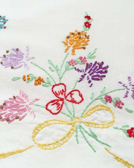 Floral Bouquet Embroidered Pillowcase, Vintage