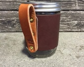 16 oz Leather Wanderer Travel Mug in Dark Brown with Bridle Handle // Gift for Men or Women