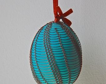 Handmade Copper Wrapped Easter Eggs - Pysanky - Aqua