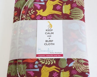 Organic Burp Cloth Set / Evening Meadow and Lily