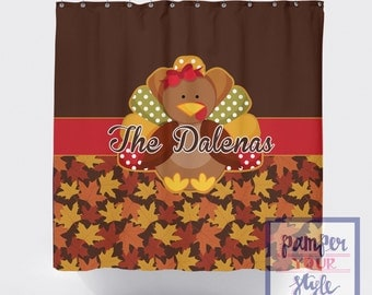 Thanksgiving Shower Curtain - Fall Personalized Shower Curtain - Turkey Shower Curtain - Fall Leaves Decor - Brown Shower Curtain