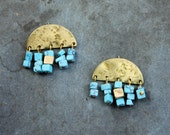 OYA earrings - brass and howlite turquoise