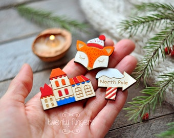 Christmas winter wooden brooch, set of 3 pieces - laser cut wood