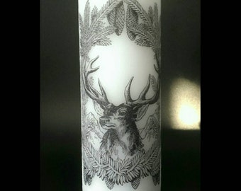 Nature Stag / Deer Candle  - Pillar Candle - Classic Decor