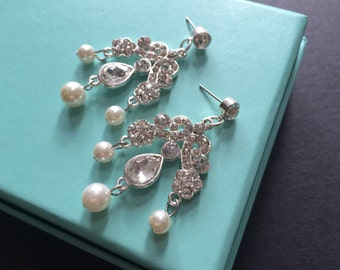 Vintage style pearls and rhinestone crystals wedding bridal bridesmaids party earrings, bridesmaids earrings, wedding jewelry