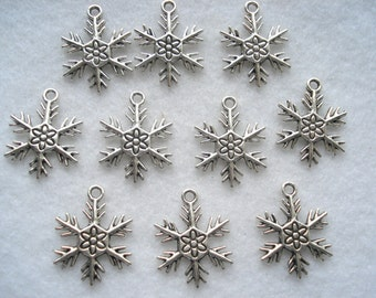 25mm Silver Tone Snowflake Charms, Pack of 9 Silver Snowflake Christmas Charms, C38