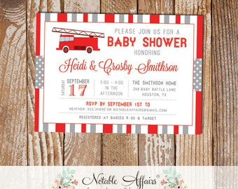 Gray and Red Firetruck Stripes and Polka Dots Baby Shower invitation - choose your colors - Fireman Baby Shower