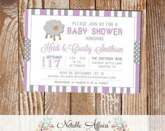 Gray and Lavender Sheep Stripes and Polka Dots Baby Shower invitation - choose your colors - Lamb Baby Shower