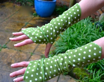 Sage with Mini-Dots Faery Wrist Warmers, Gauntlets, Fingerless Gloves…..Sage & Mini-Dots  Festival, Boho, Psy, Gypsy, Steampunk, Fantasy
